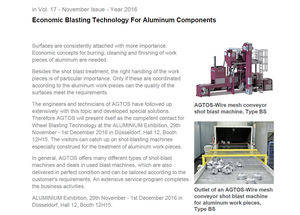Economic Blasting Technology for Aluminium Components